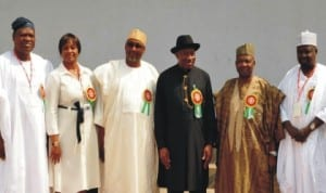 President Goodluck Jonathan and Vice President Namadi Sambo with members of the National Pension Commission Board after the inauguration of the board by the President  in Abuja last Wednesday. Photo: NAN
