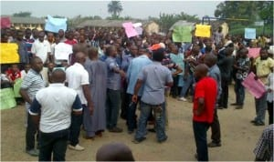 Ogoni youths protesting in Bori, Khana Local Government Council of Rivers State last Wednesday