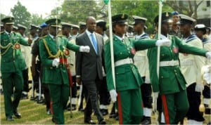 Executive Governor, Rivers State, Rt Hon Chibuike Amaechi (middle) inspecting a parade, during 2014 Armed Forces Remembrance Day celebration at Isaac Boro Park, Port Harcourt, last Wednesday. Photo; Egberi A Sampson