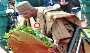 Vice President Namadi Sambo, laying a wreath, during the Armed Forces Remembrance Day celebration in Abuja last Wednesday