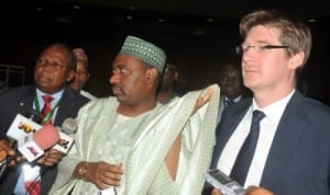 L-R: Secretary, National Economic Council, Mr Ntufam Ugbo, Supervising Minister of National Planning, Amb. Bashir Yuguda and Minister of Delegate for Development, French Ministry of Foreign Affairs, Mr Pascal Canfin, at the leading Group on Innovative Financing for Development 12th Plenary Session in Abuja last Friday. Photo: NAN