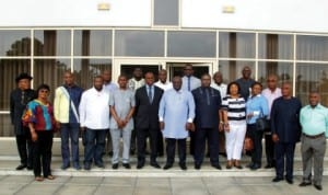 Rivers State Governor, Rt. Hon. Chibuike Amaechi (middle) in a group photograph with members of Rivers State House of Assembly shortly after the signing of 2014 Budget in Government House, Port Harcourt.       Photo: NAN