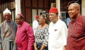 L-R: Prof Vincent Chukwuemeka, Archbishop Maxwell Anikwenwa, Prof. Uche Azikiwe, Prof. Ben Nwabueze and Comrade Elliot Uko, at a committee meeting of Igbo leaders of thought in Enugu State, yesterday.