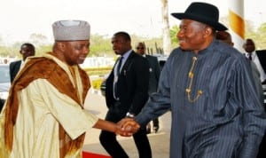 President Goodluck Jonathan being welcomed by Vice President Namadi Sambo while arriving for the presidential launch of Nigeria Mortgage Refinance Company at the Banquet Hall, Presidential Villa in Abuja, recently.