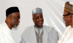 L-R:Gov. Murtala Nyako of Adamawa State; Gov. Aliyu Wamakko of Sokoto State, and former Head of State, Retired Maj-Gen. Muhammadu Buhari, at the National Executive Committee meeting of the All Progressives Congress (APC) in Abuja, yesterday