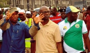 L-R: Lagos State Commissioner for Environment, Mr Tunji Bello, Commissioner for Information and Strategy, Mr Lateef Ibirogba and Chairman, Ifelodun Local Development Area, Mr Shuaibu Ajidagba, during the monitoring of  environmental sanitation exercise  in Lagos last Saturday.