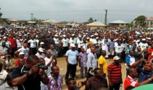 A crowd during the Save Rivers Movement rally in Bori, Rivers State last Saturday
