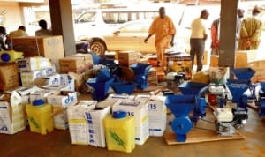 Farm tools and equipment donated to various FADAMA user groups in Iseyin Local Government Area of Oyo State, recently.