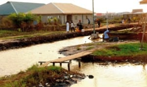 Some people in Imoren Community scooping fuel from the creek at the site of the petrol spillage in Lagos, recently.