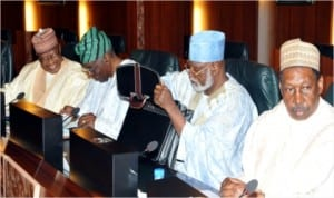 L-R: Former Military President, Ibrahim Babangida, former Interim President,Chief Ernest Shonekan, former Head of State, Retired Gen. Abdulsalami Abubakar and former Chief Justice of Nigeria, Justice Muhammed Uwais at the National Council of State meeting in Abuja, yesterday