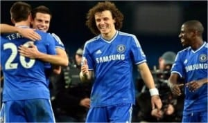 Chelsea players celebrating their  victory against Manchester City, yesterday.