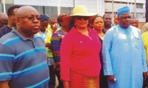 L-R: Managing Director, Federal Airports Authority of Nigeria (Faan), Mr George Uresi, Minister of Aviation, Princess Stella Oduah and Commissioner for Accident Investigation Bureau, Capt. Muhtar Usman, during inspection of the ongoing re-modelling of Port-Harcourt International Terminal in Port Harcourt  last Saturday. Photo: NAN