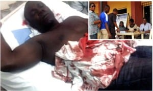 Special Adviser to the Chairman, Akuku-Toru Local Government, Mr Ominini Bibi on his hospital bed yesterday after the attack on him by suspected PDP and GDI assailants, during the APC registration exercise at Abonnema. Inset: Prospective members of APC waiting to register at Ward 12 Ojukwu Field Mile 1 in Port Harcourt, last Wednesday.