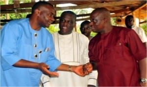 L-R: Senator Magnus Abe, Senator Wilson Ake and Rivers Commissioner for Works, Victor Giadom, chatting during a function at Erema in Ogba/Egbema/Ndoni LGA of Rivers State, recently.