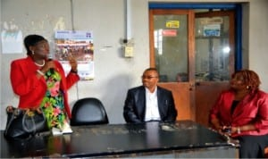Permanent Secretary, Ministry of Information and Communications, Rivers State, Mrs Cordelia M. Peterside (left), addressing staff of Rivers State Newspaper Corporation, during her visit to the corporation last Wednesday. With her are General Manager, RSNC, Mr Celestine Ogolo and Director of Publications, Mrs Juliet Njiowhor.