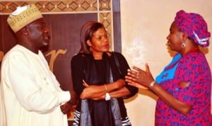L-R: Lead Water and Sanitation Specialist, World Bank, Mr Hassan Kida, World Bank Country Director, Marie Francois Marie-Nelly and Minister of Water Resources, Mrs Sarah Ochekpe, at a   dinner meeting with the World Bank and Minister of Water Resources in Abuja last Wednesday. Photo: NAN