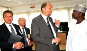 Head of European Union Delegation, Amb. Michel Arrion (2nd right), discussing with Chairman of INEC, Prof. Attahiru Jega (right), during a courtesy visit to INEC headquarters in Abuja last Friday. With them are EU First Secretary, Mr Alan Munday (left) and EU Minister Councellor (Political, Information and Communication), Mr Henry Prankerd.