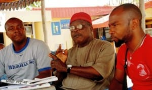 L-R: Public Relations Officer, Awgu People's Assembly (Apa), Mr Okolo Onyekachi, Chairman, Apa Enlightenment Committee, Ichie Chidozie Okeke and Youth Leader, Mr Jude Okechukwu, at a news conference on zoning of Enugu-West Senatorial Seat in Enugu State, recently.