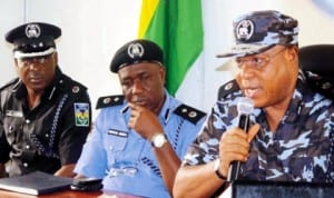 New Rivers State Commission of Police, Mr Tunde Ogunshaki (right), during his maiden news conference in Port Harcourt  recently. With him are Deputy Commissioner of Police, Mr Fimihan Adeoye (middle) and Assistant Commissioner of Police Jo Amadi
