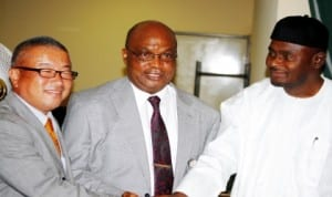 L-R: Representative of Japan International Cooperation Agency, Mr Tetsuo Seki, representative of the Minister of Education, Mr Michael Ofor and Director-General, National Teachers Institute, Dr Aminu Sharehu, at the Strengthening  Mathematics and Scinece Education (SMASE) Sensitisation Forum in Abuja, recently.