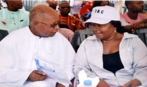 Chairman, Catholic Education Board, Port Harcourt Diocese, Rev Fr Joseph Kabari (left), chatting with the Principal, Holy Rosary College, Port Harcourt, during the school's 2014 inter-house sports competition in Port Harcourt, last Saturday. Photo: Nwiueh Donatus Ken.