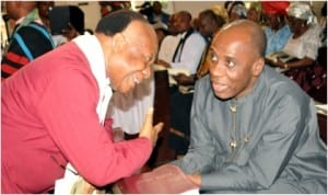 Rivers State Governor, Rt Hon Chibuike Amaechi (right), exchanging pleasantries with Primate and Moderator of the General Assembly of the Presbyterian Church of Nigeria, Most Rev. Emele Mba Uka,  during the induction service of resident ministers of Christ Church, Port Harcourt.