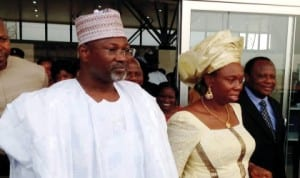 INEC Chairman, Prof. Attahiru Jega (left) and Delta State INEC Resident Electoral Commissioner (REC), Dame Gesila Khan,  during the arrival of the INEC Chairman at the Asaba  Airport on a two-day tour of INEC facilities in Delta  State last Monday.
