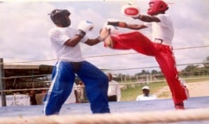 Kickboxers struggling for honours during a national event in Port Harcourt, Rivers State, recently.