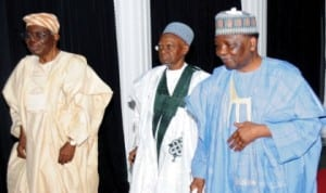 L-R: Former Head of Interim National Government, Chief Ernest Shonekan, former President, Alhaji Shehu Shagari and former Head of State, Gen. Yakubu Gowon, at the Centenary Conference in Abuja, yesterday.