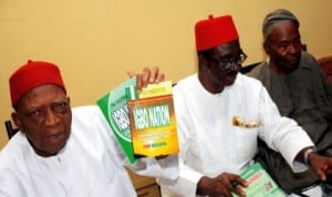 L-R: Book presenter, Prof. Ben Nwabueze, Prof. Elo Amucheazi and Senator Offiah Nwali, during the presentation of   books on  Igbo position to the National Conference in Enugu,  yesterday.