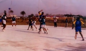 Handball players struggling for honours during a national event in Port Harcourt, Rivers State recently.