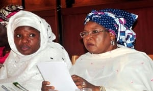 Permanent Secretary, Ministry of Women Affairs and Social Development, Dr Habibu Lawal (left),  with the Minister, Hajiya Zainab Maina, at the National Stakeholders' Consultative Preparatory Meeting on the 58th session of the United Nations Commission on the Status of Women in Abuja,  recently. Photo: NAN