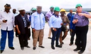 Managing Director Metal Recycling Plant, Mr Roy WoolCock (right) explains to chairman, House Committee on Environment, Hon Victoria Nyeche (3rd right) and her members, Hon Anderson Miller (3rd right) Permanent Secretary, Ministry of Environmet, Dr Nyema Weli (left), during the committee's oversight function to the company at Kira in Tai LGA. Photo: Chris Monyanaga