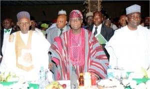 L-R: Former Presidents, Alhaji Shehu Shagari, Chief Olusegun Obasanjo and former Head of State, Gen. Yakubu Gowon, at the Centenary dinner and awards in Abuja, last Friday