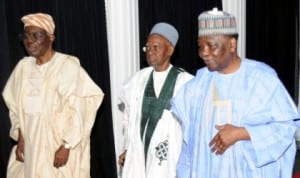 L-R: Former Head of Interim National Government, Chief Ernest Shonekan, former President, Alhaji Shehu Shagari and former Head of State, General Yakubu Gowon, at the Centenary Conference in Abuja last Thursday.