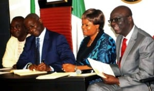 L-R:  Deputy Speaker, Lagos State House of Assembly, Mr Kolawole Taiwo, Gov. Babatunde Fashola of Lagos,   Deputy Governor, Mrs Adejoke Orelope Adefulire and Attorney General and Commissioner for Justice, Mr Ade Ipaye, at the signing into law of anti smoking bill and establishment of emergency command and control centre  by Gov. Fashola in Lagos, recently. Photo: NAN