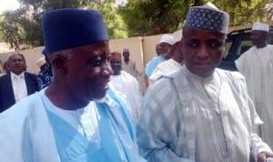 Former Secretary to Sokoto State Government, Alhaji Maigari Dingyadi (left), with Governor Aliyu  Wamakko, during an APC stakeholders meeting in Sokoto last Monday.