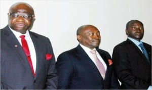 L-R: Vice President, Nigeria-Sierra Leone Chamber of Commerce (NSCC), Chief Biodun Adeniji, High Commissioner of Sierra Leone to Nigeria, Amb. Henry Macauley and Sierra Leonean Minister of Trade and Industry, Alhaji Usman Kamara, at the 2014 Investors Outreach in Lagos, last Wednesday.