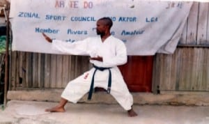 Rivers State Karate Coach, Kingsley Eweli in action during a zonal karate clinic in Port Harcourt, recently.