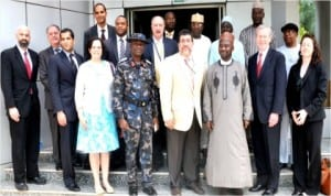 Director-General, National Emergency Management Agency,Alhaji Mohammed Sani (3rd right), with a delegation from US Department of Diplomatic Security Services, office of  Anti-Terrorism Assistance who visited NEMA in Abuja, last Wednesday