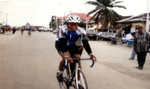 A cyclist in action during a national event in Port Harcourt, Rivers State, recently.