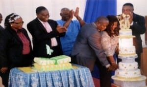Prof Ndinele of University of Port Harcourt (3rd right) cutting his 50th birthday anniversary cake assisted by his wife in Port Harcourt, recently. With them are Prof Nimi Briggs (right), Prof Love Akonye (left) and Prof E. Nolue Fuenajo. Photo: Nwiueh Donatus Ken