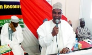 Speaker, Sokoto State House of Assembly, Alhaji Lawalli Zayyana, speaking at the opening of a conference organized by the Faculty of Science, Sokoto State University, in Sokoto, last Monday.