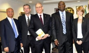 L-R: Lagos Commissioner for budget and planning, Mr. Ben Akabueze, Deputy German Consul General, Jorg Stephan, German Consul General, Mr Michael Derug, Gov Babatunde Fashola of Lagos State and German Vice Consul, Sophia Stephan, during a visit of the Consul General To Gov. Fashola in Lagos, recently.
