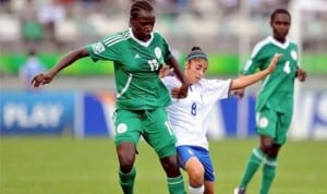 Female football players in action during an international encounter recently.