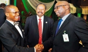 L-R: Director-General Debt Management Office, Dr Abraham Nwankwo, Deputy Executive  Secretary, United Nations Economic Commission for Africa, Mr Abdala   Hamdok and Director, Planning, UNECA, Mr George Ogboro, at the Seventh AU-ECA joint annual meeting in Abuja,  yesterday. Photo: NAN