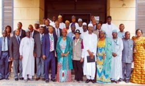 Minister of Environment, Mrs Lawrencia Labaran-Mallam (middle), with the Management Staff of the Ministry during her assumption of duty in Abuja, recently.