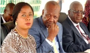 L-R:Head, Mid and Downstream Content Department, Petroleum Technology Development Fund, Mrs Bella Kay-Hambolu, General Manager, Content Department, Mr Olawale Fasanya and Executive Secretary, Dr Oluwole Oluleye, at the launch of Module B Welders Training Programme in Port Harcourt on Wednesday