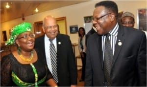 L-R: Co-ordinating Minister of the Economy, Dr Ngozi Okonjo-Iweala,  South African Minister Of Finance, Mr Pravin  Gordhan and Executive Secretary,  African Capacity Building Foundation (ACBF), Prof. Emmanuel Nnadozie, during the  African Ministers of Finance meeting in Abuja last Saturday.