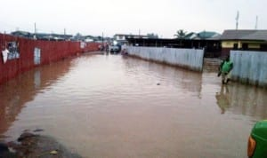 Community High School and Z.I. Primary School II in Akure, Ogun State, cut off  by flood due to early morning rain last Monday.